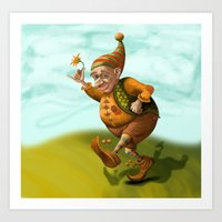 gnome Art Prints featuring Gnome by Olga Shefranov