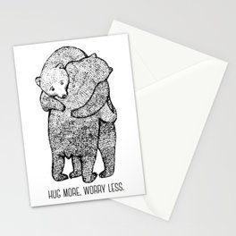 Hug more, worry less Stationery Cards