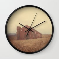 farm Wall Clocks featuring Autumn Farm by Olivia Joy StClaire