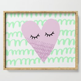Cute funny heart Serving Tray