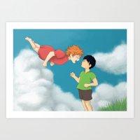 ponyo Art Prints featuring Hinata - Ponyo by betanoiz