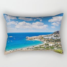 The village of Lindos with a beautiful bay, medieval castle and pictursque houses in Rhodes, Greece. Rectangular Pillow