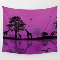 african Wall Tapestries featuring African Landscape by Robin Curtiss