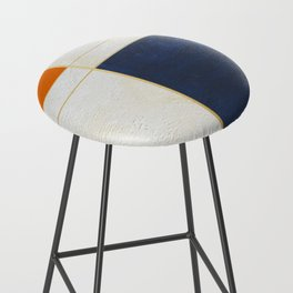 Orange, Blue And White With Golden Lines Abstract Painting Bar Stool