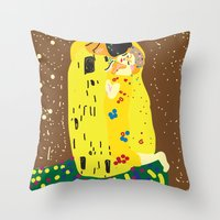 klimt Throw Pillows featuring klimt by John Sailor