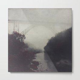 Bridge and River in Fog Metal Print