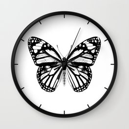 Monarch Butterfly | Black and White Wall Clock