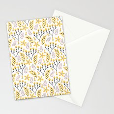 Mod Floral Yellow Gray Stationery Cards