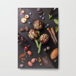 Assortment raw organic of purple ingredients Metal Print