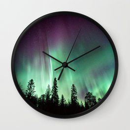 Colorful Northern Lights, Aurora Borealis Wall Clock