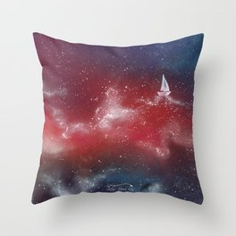 Boat in the stars Throw Pillow
