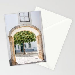 Pretty old gate with orange tree in Portugal Stationery Cards