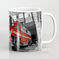 truck Mugs featuring Fire Truck  by Rob Hawkins Photography