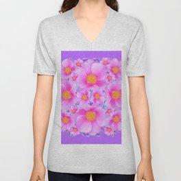 Lilac Purple & Pink Roses Unisex V-Neck