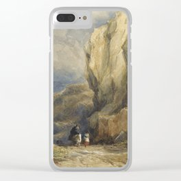 David Cox R.W.S. BIRMINGHAM 1783-1859 TRAVELLERS ON A MOUNTAINOUS PATH, NORTH WALES Clear iPhone Case