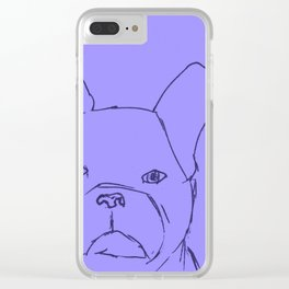 Sketched Frenchie (Blues) Clear iPhone Case