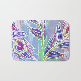 Lilac and blue peacock feathers print Bath Mat