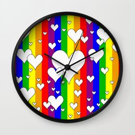 Gay flag with the colors of the rainbow with hearts Wall Clock