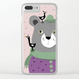 Crazy bird bear Clear iPhone Case