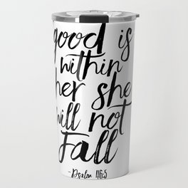 Psalm 46:5 God Is Within Her She Will Not Fall, Nursery Girls,Gift For Her,Bible verse,Scripture Art Travel Mug