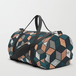 Copper, Marble and Concrete Cubes with Blue Duffle Bag