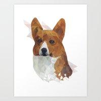 corgi Art Prints featuring CORGI // by kitschchris