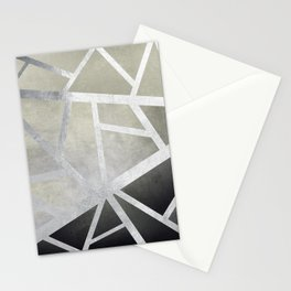 Textured Metal Geometric Gradient With Silver Stationery Cards