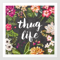 yellow Art Prints featuring Thug Life by Text Guy