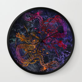 Peony Dragons Antique Stencil Art Print   Chinoiserie Chic Watercolor Wall Art -  Midnight Purple Wall Clock