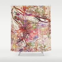 portland Shower Curtains featuring Portland by MapMapMaps.Watercolors