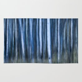 The Night's Forest - Ghostly Blue and White Trees Rug