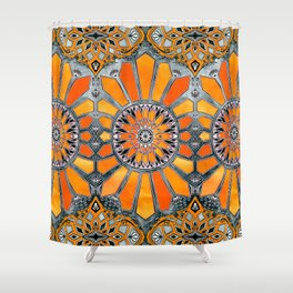 Celebrating the 70's - tangerine orange watercolor on grey Shower Curtain