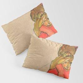 "Egon Schiele ""Kneeling Female in Orange-Red Dress"" Pillow Sham"