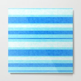 Bright Blue Grunge Stripes Texture Metal Print