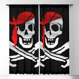 Jolly Roger pirate waving flag with skull and swords with red bandana on a silk drape  Blackout Curtain