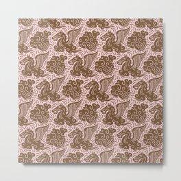 Pegasus Pattern Dusty Rose and Brown Metal Print
