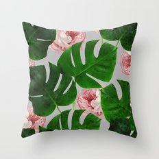 Monstera & Rose Pattern #society6 #decor #buyart Throw Pillow