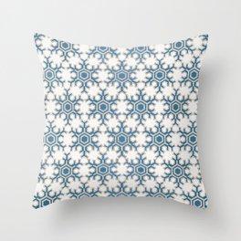 Blue silver snowflakes Christmas pattern Throw Pillow
