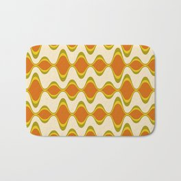 Retro Psychedelic Wavy Pattern in Orange, Yellow, Olive Bath Mat