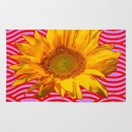GOLDEN YELLOW SUNFLOWER RED-PURPLE ABSTRACT Rug