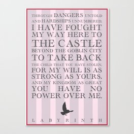 Labyrinth Sarah Movie Quote Canvas Print