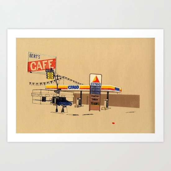 Berts Cafe screenprint Art Print