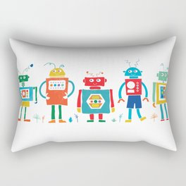 Robots Cheerful and Bright in Line Rectangular Pillow