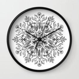 Thrive - Monochrome Mandala Wall Clock