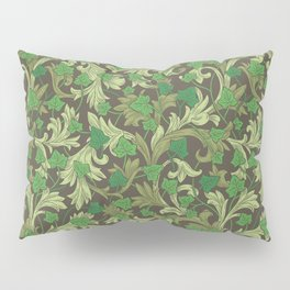 Green ivy with ornament on dark brown background Pillow Sham