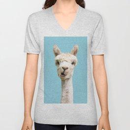 Cute white alpaca portrait on blue sky background Unisex V-Neck