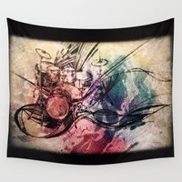 drum Wall Tapestries featuring Drum by Joanne Chen