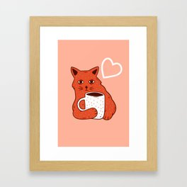 Peach Coffee Kitten Framed Art Print