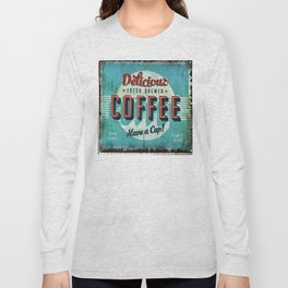 Vintage Style Coffee Sign Long Sleeve T-shirt
