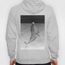 Black and white, whale, paper boat Hoody